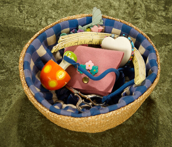 """8""""w. Italian felt and wicker sewing basket with accessories by Lenci. $300/400"""