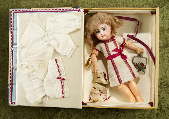 "13"" French bisque bebe by Emile Jumeau, presentation box, chemise, undergarments. $2500/2800"