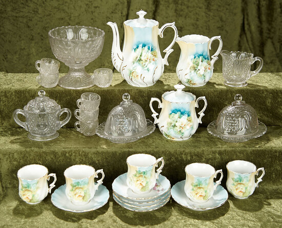 German doll's porcelain tea set and pattern glass dishes. $400/500