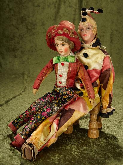 """22"""" & 24"""" 1930s salon dolls in original costumes. $300/400"""