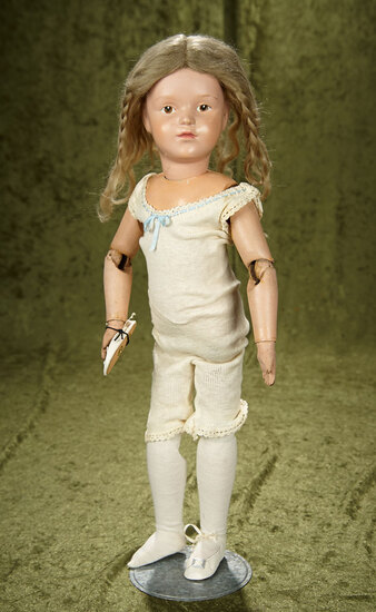 """19"""" American Carved Wooden Brown-Eyed Girl by Schoenhut.  $500/700"""