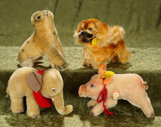 "4""-6"" Four German mohair animals by Steiff, 1950s era. $200/300"