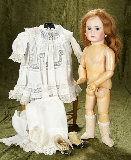 """23"""" French bisque bebe, Figure A. by Jules Steiner with original signed body. $2800/3200"""