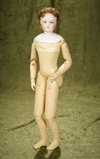 """18"""" French Bisque Poupee by Gaultier with Wooden Articulated Body. $2200/2600"""