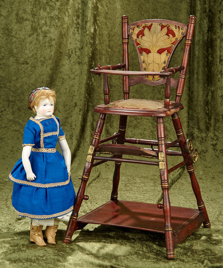 "23"" Doll's wooden reversible high chair/play table with unusual designs. $400/500"
