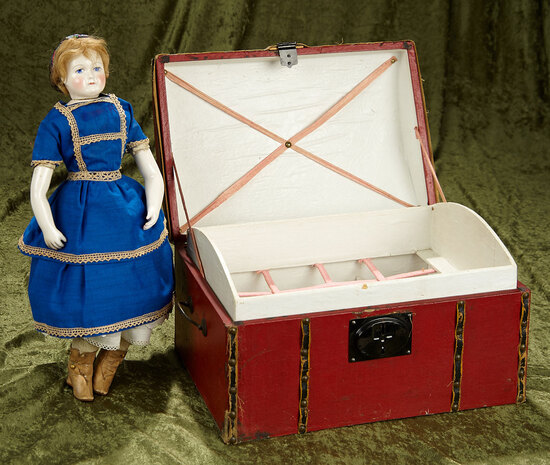"13"" French wooden doll trunk from Maison Giroux with original Giroux label. $400/500"