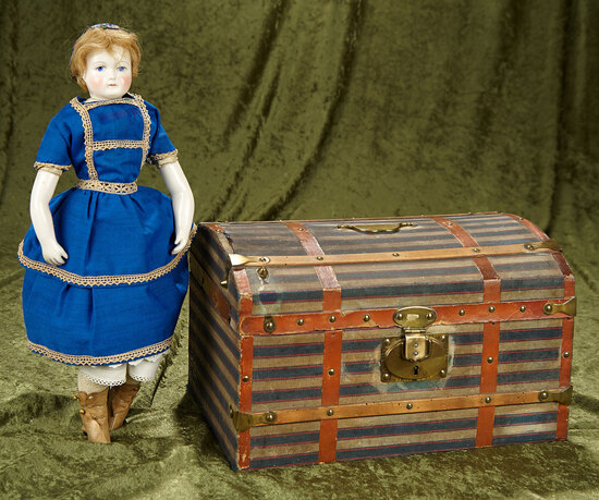 "13"" French domed-top doll trunk with striped canvas cover. $300/400"