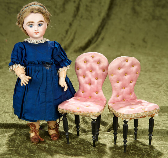 "8"" Pair, French chairs in original rose tufted silk for small bebes. $500/700"