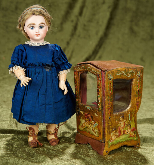 "7"" French miniature sedan chair with embossed scenes. $300/400"