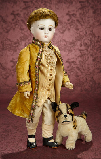 German Bisque Closed Mouth Doll by Kestner as Marquis, with Pup 1200/1600