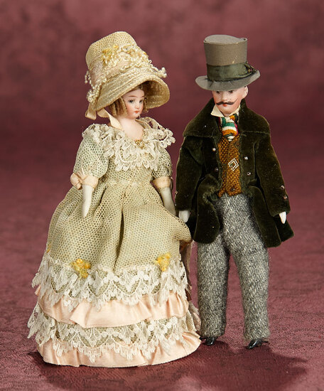 Pair, German Bisque Dollhouse Dolls as Fine Lady and Gentleman 500/700