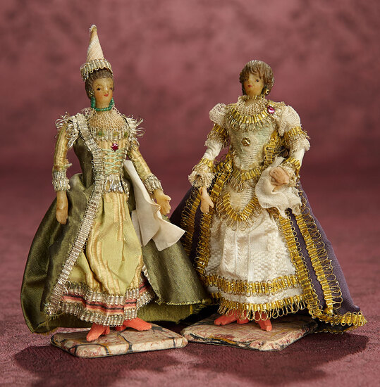 Two Early Wax Miniature Dolls in Original Theatrical Costumes 400/500