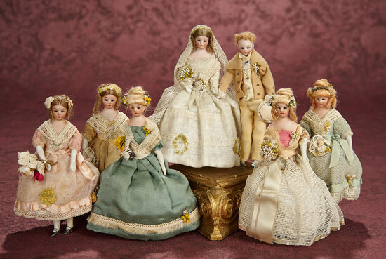 "Seven German Bisque ""Wedding Party"" Miniature Dolls by Simon and Halbig 1100/1500"