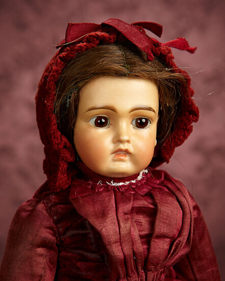 Rare Sonneberg Bisque Doll as Look-Alike Bru with Rich Amber Complexion 1800/2200