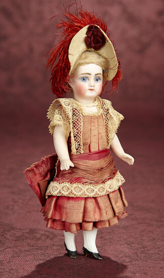 German All-Bisque Miniature Doll in Wonderful Original Costume 600/900