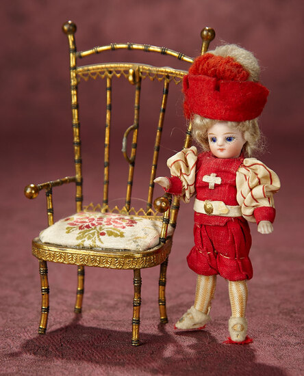 French All-Bisque Miniature Doll as Cavalier with Miniature Chair 800/1100