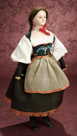 German Paper Mache Lady with Enamel Eyes and Original Costume 900/1200