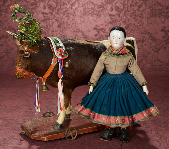 Very Rare German Pull-Toy Cow in Swiss Festival Costume 1600/2200