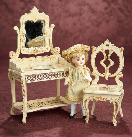 German all-Bisque Blue-Stocking Miniature Doll with Wooden Furnishings 600/800