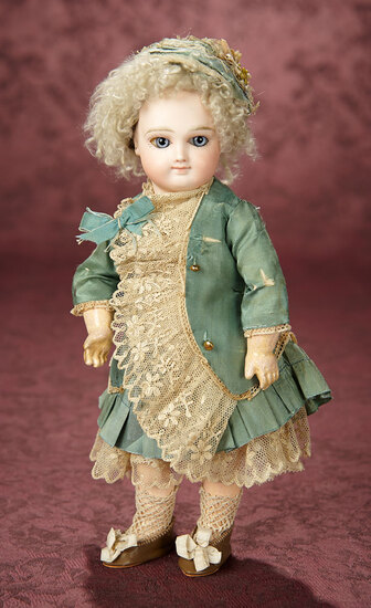 Petite French Bisque Earliest Period Smiling Bebe by Emile Jumeau  3200/3800
