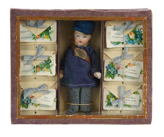 German All-Bisque Miniature Doll in Original Presentation Box 200/300