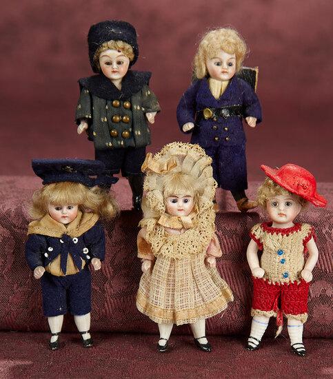 Five German All-Bisque Miniature Dolls in Original Factory Costumes 800/1100