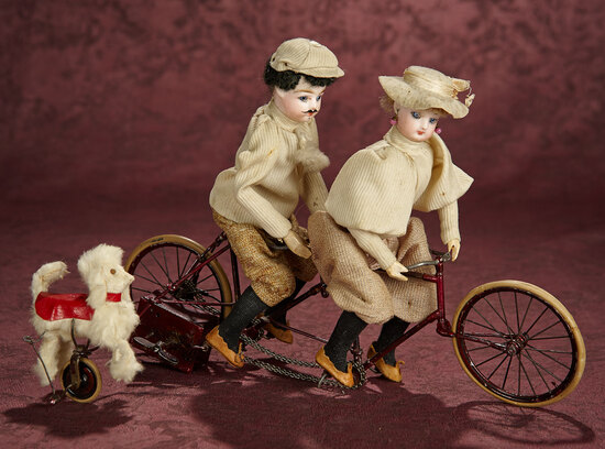 """French Mechanical Toy """"Merry Couple on a Bicycle-Built-For-Two"""" with Pup 1800/2200"""
