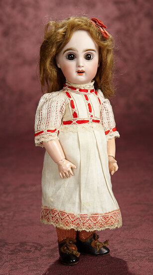Petite French Bisque Brown-Eyed Bebe by Emile Jumeau with Original Signed Shoes 1400/1800