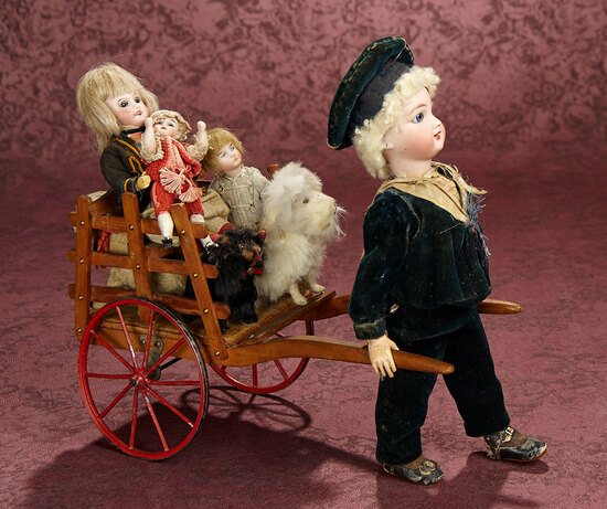 """French Mechanical """"Boy with Cart of Toys"""" by Roullet Decamps 1800/2300"""