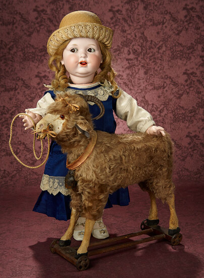 "Rare German Curly Brown Mohair Pull-Toy Ram with ""Baa-a"" Bellows 1200/1500"