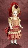 German All-Bisque Miniature Doll in Wonderful Original Costume 600/900
