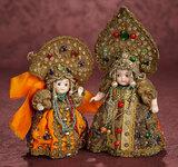 Two German All-Bisque Googlies in Original Elaborate Cossack Costumes 600/900