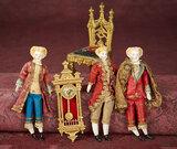 Three German Bisque Dollhouse Gentleman in Elaborate Costumes 500/700