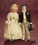 Pair, German Bisque Dollhouse Dolls in Wonderful Antique Costumes 600/800