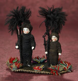 Pair, German Porcelain Dolls in Original Chimney Sweeper Costumes as Pen Wiper 300/400