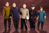 Five German Bisque Dollhouse Dolls in Original Uniforms 900/1200