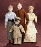 Four German Bisque Occupational Dollhouse Dolls 600/800