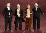 Four German Bisque Dollhouse Gentlemen  700/900