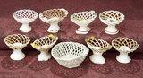 Nine French Miniature Porcelain de Paris Lattice-Edge Bowls 400/500