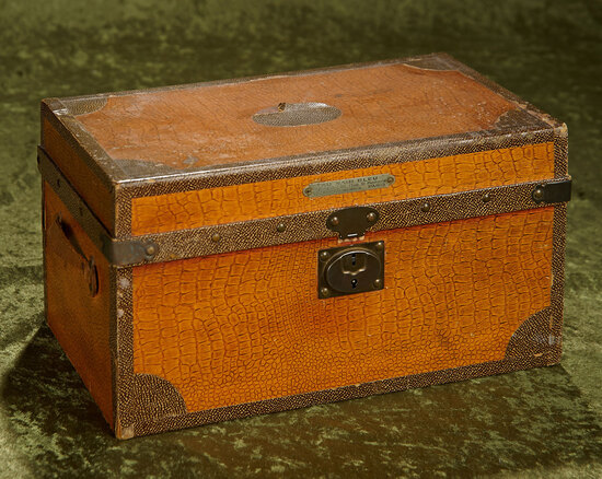 "13"" French doll's trunk from Au Nain Bleu for Bleuette. $400/500"