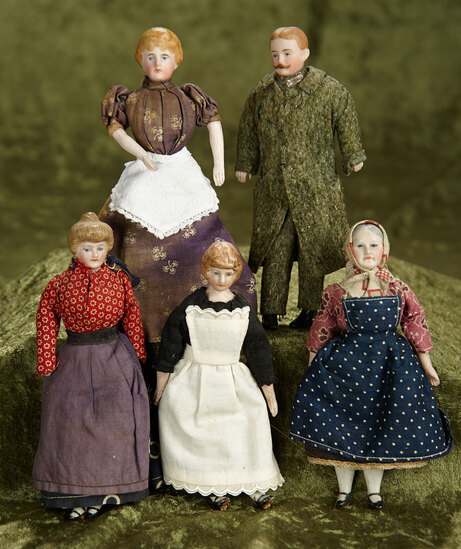 "6"" Five German bisque dollhouse dolls in original costumes. $500/800"
