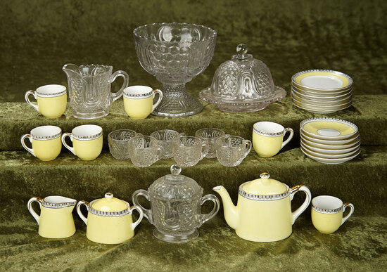 Set of Nippon porcelain doll's tea service, and pattern glass punch bowl and more. $400/500