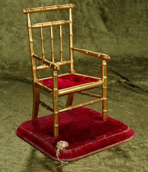 "14"" French wooden salon chair with gold leaf finish on velvet base. $400/500"
