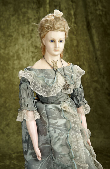 "26"" German wax over paper mache lady known as ""Staatdamen"" with original wig, body. $700/900"