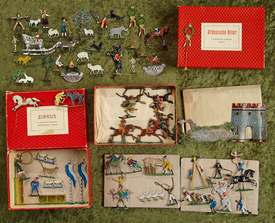 Collection of German miniature zinnfiguren including three sets in original boxes $400/500