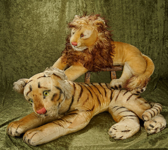 "25"" & 27"" German mohair tiger and lion by Steiff in grand exhibition size, buttons in ear. $500/700"
