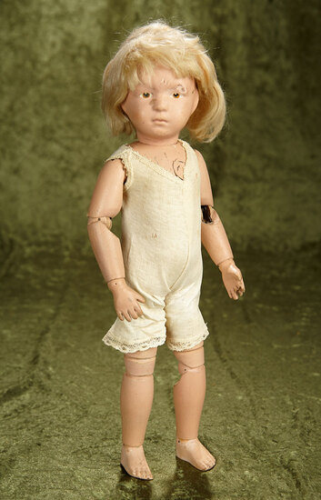 "16"" American carved wooden doll by Schoenhut with intaglio brown eyes. $400/500"