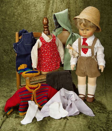 "19"" German character doll ""Fritzel"" by Kathe Kruse with extra costumes. $400/500"