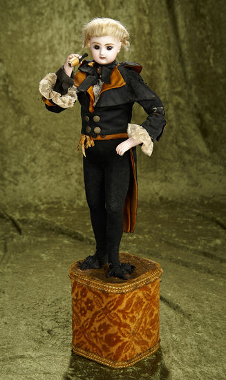 "21"" French automaton ""The Marquis Gentleman Smoker"" with original costume by Lambert. $2000/3000"