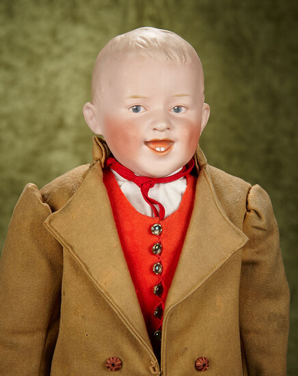 "23"" German bisque smiling character by Heubach with intaglio eyes, cloth body bisque lower arms."